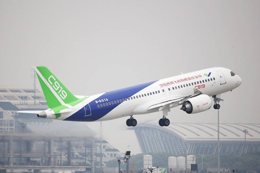 COMAC C919, a single-aisle competitor to Airbus and Boeing