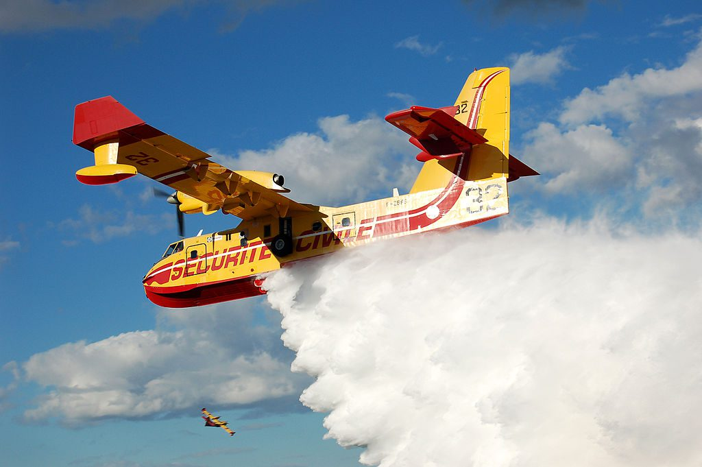 A Canadair CL-416 Pelican firefighting flying boat