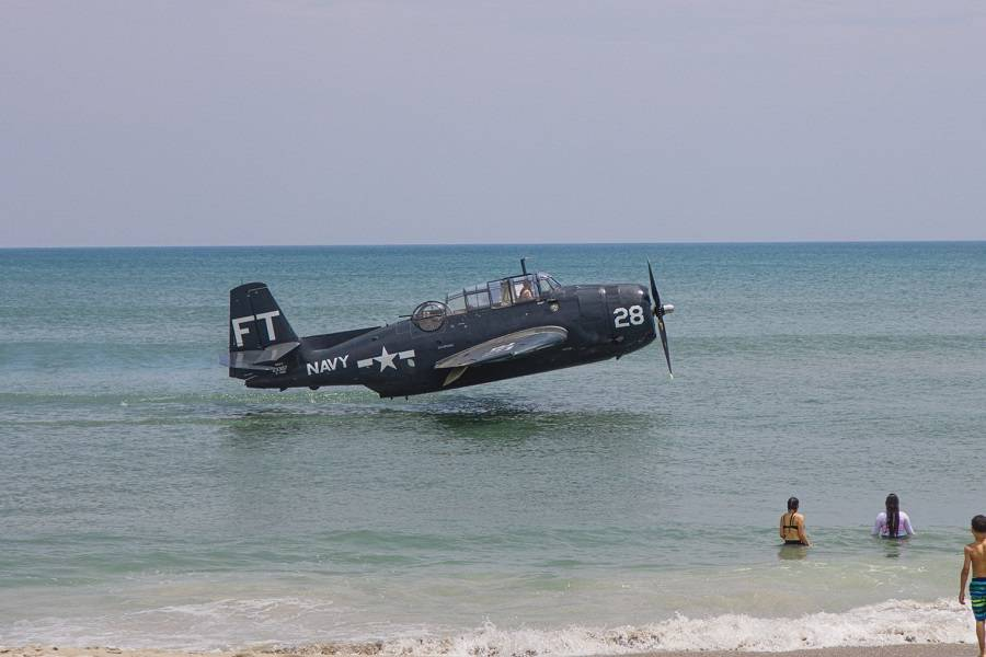 TBM Avenger Warplane Ditching At Cocoa Beach Florida!
