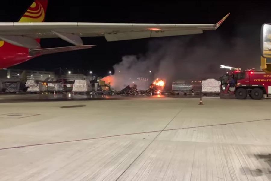 Pallet With Smartphones On Fire At Hong Kong Airport