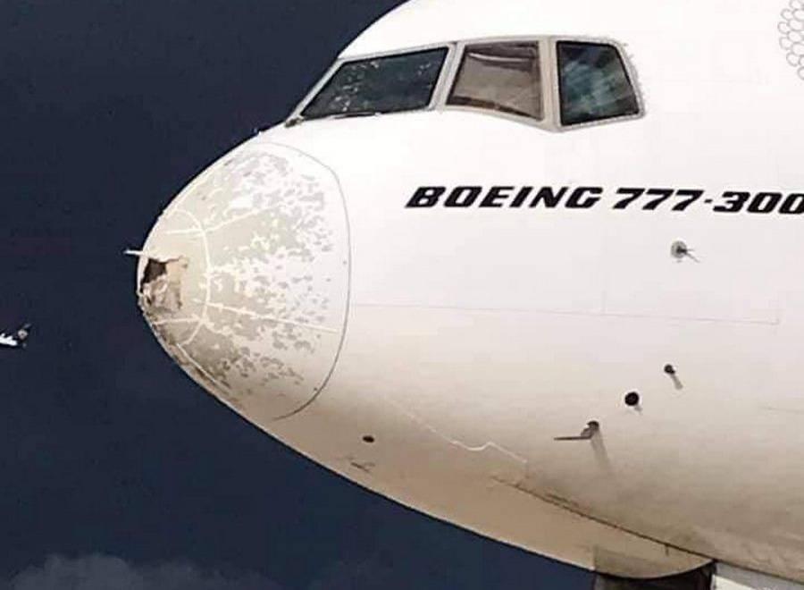INCIDENT: Emirates 777 Damaged In Severe Hailstorm!