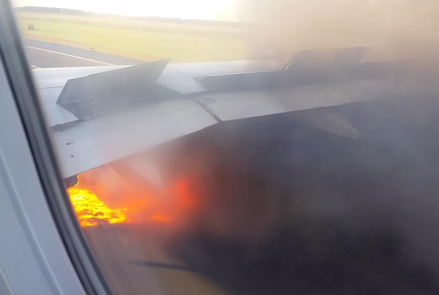 Spirit A320neo Evacuation After Bird Strike And Fire!